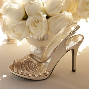 Champagne Bridal Sandals Stiletto Heels Rhinestone Wedding Shoes