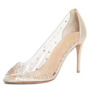 Champagne Clear Heels Rhinestone Peep Toe Stiletto Heel Pumps