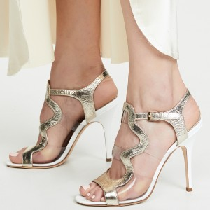 Champagne Clear PVC Stiletto Heels Sandals