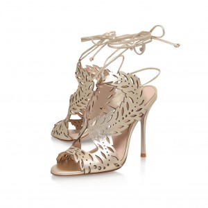 Champagne Cut out Evening Shoes Stiletto Heels Prom Sandals