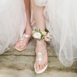 Champagne Rhinestone Wedding Sandals Summer Flat Beach Sandals