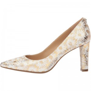 Champagne Floral Chunky Heels Pumps