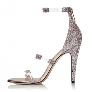 Champagne Glitter Open Toe Clear Heels PVC Strappy Sandals
