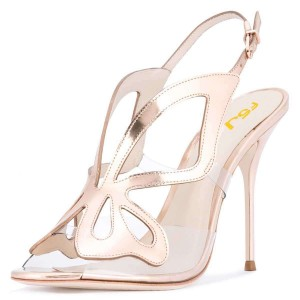 Champagne Hollow Out Clear PVC Slingback Heels Sandals