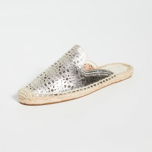Champagne Hollow Out Loafer Mules with Platform