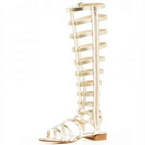 Silver Gladiator Sandals Knee-High Comfortable Flats for Women