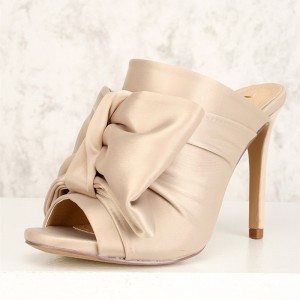 Champagne Knot Satin Open Toe Stiletto Heel Mule Sandals