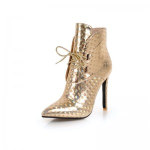 Champagne Lace up Boots Stiletto Heel Pointy Toe Ankle Boots