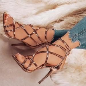 Copper Mirror Strappy Heels Open Toe Stiletto Heel Sandals