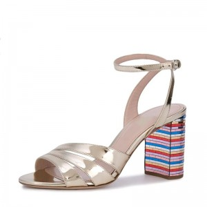 Champagne Patent Leather Chunky Heel Ankle Strap Sandals