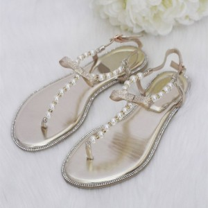 Champagne Pearl Flat Sandals Flip Flops