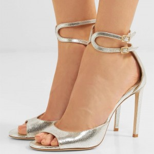 Champagne Peep Toe Ankle Strap Buckles Stiletto Heel Sandals