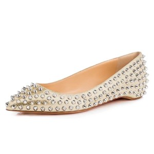 Champagne Pointy Toe Flats Python Comfortable Shoes with Rivets