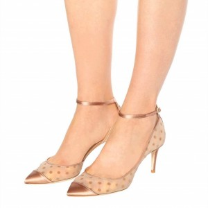Champagne Polka Dots Ankle Strap Heels Stiletto Heel Pointed Toe Pumps