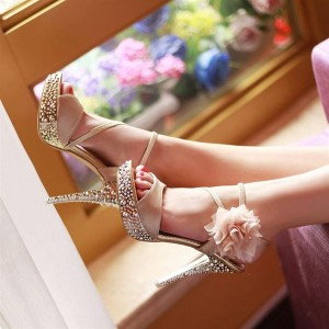 Champagne Rhinestone Floral Platform Sandals For Ball