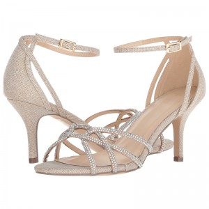 Champagne Rhinestones Stiletto Heel Ankle Strap Sandals for Wedding