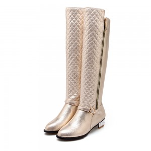 Champagne Round Toe Flats Long Boots Quilted Zipper Knee High Boots