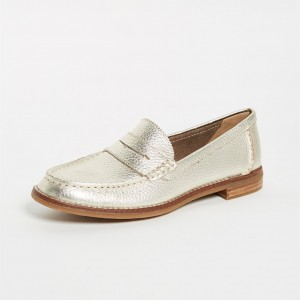 Champagne Litchi Grain Flats Round Toe Penny Loafers for Women