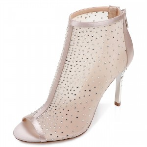 Blush Wedding Shoes Peep Toe Rhinestone Mesh Booties