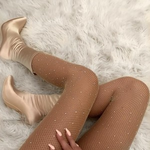 Champagne Satin Sock Boots Stiletto Heel Pointed Toe Mid Calf Boots