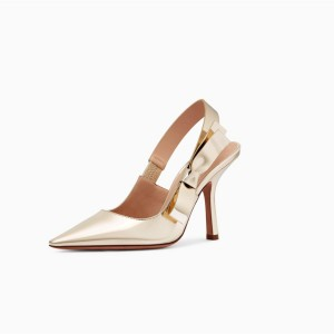 Gold Slingback Heels Pointy Toe Stiletto Heel Pumps with Bow