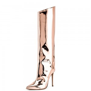Champagne Stiletto Boots Knee High Boots