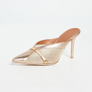 Champagne Stiletto Heel Mule Pointy Toe with Golden Ring