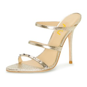 Champagne Triple Straps Mule Heels Sandals with Studs