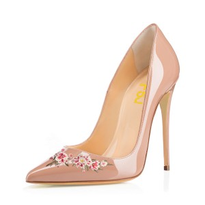Women's Nude Pointy Toe Floral Office Heels Stiletto Pumps