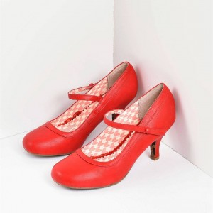 Cherry Red Retro Mary Jane Heels Pumps