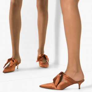 Chestnut Satin Tie Mule Kitten Heel Pumps