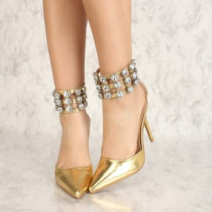 Chic Gold Stiletto Heels Pointy Toe Rhinestone Ankle Strap Pumps