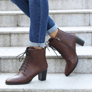 Chocolate Lace up Boots Round Toe Chunky Heel Ankle Booties
