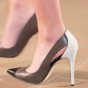 Chocolate Pointy Toe Stiletto Heels Pumps Python Fashion Office Shoes