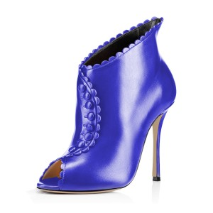 Blue Laciness Fashion Boots Peep Toe Buttoned Stiletto Ankle Booties