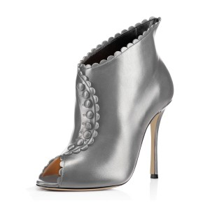 Grey Laciness Fashion Boots Peep Toe Buttoned Stiletto Ankle Booties