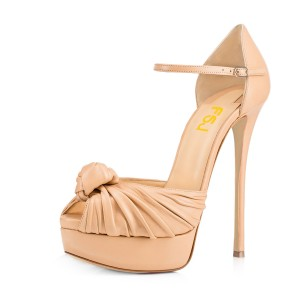 Women's Nude Peep Toe with Bow Stiletto Heels Platform Sandals