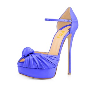 Women's Blue Peep Toe with Bow Stiletto Heels Platform Sandals