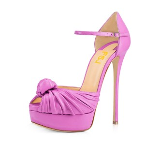 Women's Plum Peep Toe with Bow Stiletto Heels Platform Sandals