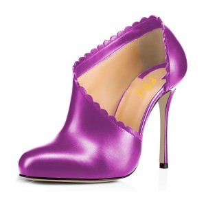 Women's Purple Summer Boots Commuting Stiletto Heels Round Toe  Ankle Booties
