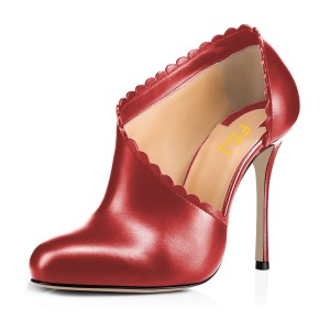 Women's Red Summer Boots Commuting Stiletto Heels Round Toe  Ankle Booties