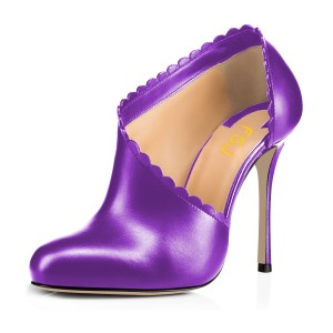Women's Violet Summer Boots Commuting Stiletto Heels Round Toe  Ankle Booties