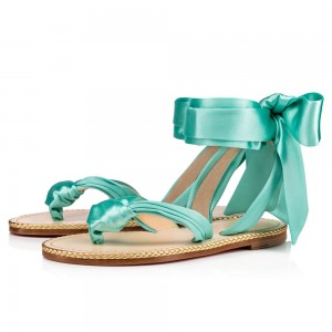 Cyan Flat Bow Sandals Satin Strappy Thong Sandals