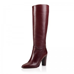 Chunky Heel Burgundy Boots Knee High Boots
