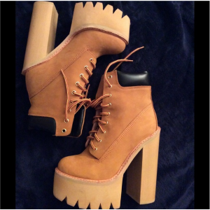 Custom Made Tan Lace Up Platform Ankle Boots