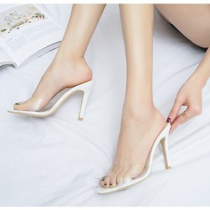 White and Clear Mule Heels Peep Toe Stiletto Heels US Size 3-15