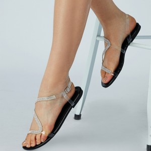 Clear PVC Rhinestone Flat Sandals