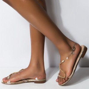 Clear PVC Snake Flat Sandals