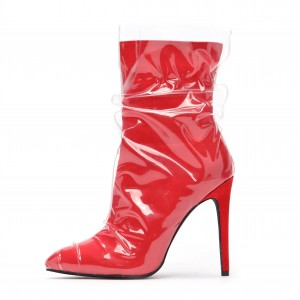 Clear PVC Wrapped Red Pointy Toe Stiletto Boots