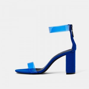 Clear Royal Blue Heels Open Toe Chunky Heels Summer Sandals